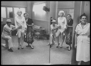 """1958 / Marilyn et Orry-Kelly lors du tournage du film """"Some like it hot"""" / MINI-BIO / Orry-Kelly grandit et étudie à Kiama en Australie, sa ville de naissance, et devient apprenti tailleur et étalagiste à Sydney. Afin de poursuivre une carrière d'acteur, il part pour New York, où il partage une chambre avec Charlie SPANGLES et Cary GRANT. Alors peintre mural dans une discothèque, il est engagé par les """"Fox East Coast studios"""" pour illustrer des génériques. Il conçoit les costumes et décors pour les spectacles de la famille SHUBERT à Broadway et les """"George White's Scandals"""".  Orry-Kelly s'installe à Hollywood en 1932, et travaille pour toutes les majors (Universal, RKO, 20th Century Fox, et MGM). Il y crée les costumes pour les actrices les plus renommées du moment, comme Bette DAVIS, Olivia DE HAVILLAND, Marilyn, Katharine HEPBURN, Ava GARDNER, Ann SHERIDAN, Barbara STANWYCK, Natalie WOOD ou encore Merle OBERON, pour des films devenus des classiques de l'Âge d'or comme """"42ème Rue"""", """"Le Faucon maltais"""", """"Casablanca"""", """"Arsenic et vieilles dentelles"""", """"Harvey"""", """"Oklahoma !"""", """"Ma tante"""", et """"Certains l'aiment chaud"""". Orry-Kelly a gagné trois Oscars de la meilleure création de costumes (pour """"Un Américain à Paris"""", """"Les Girls"""", et """"Certains l'aiment chaud"""") et a reçu une nomination pour un quatrième : """"Gypsy, vénus de Broadway"""".  Alcoolique de longue date, Orry-Kelly est mort d'un cancer du foie à Hollywood, et est enterré au """"Forest Lawn Memorial Park"""". (Précision, les photos ne sont pas tirées à l'envers, c'est juste que le photographe a pris Marilyn en photo dans le miroir)."""
