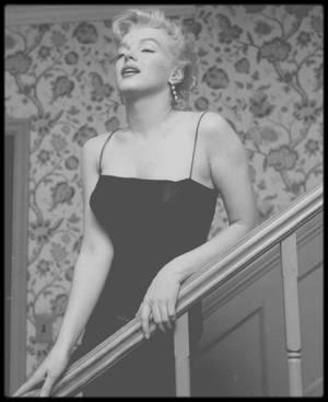 """1956 / (Part III) """"Press Party"""" donnée pour le tournage de """"Bus stop"""" dans la maison de """"North Beverly Glen Boulevard"""". Marilyn pose dans les escaliers sous l'objectif de Milton GREENE et Earl LEAF ; sur une photo on peut voir le petit Joshua GREENE."""