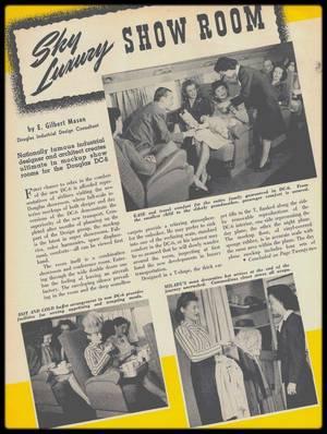 """1945 / BEFORE MARILYN / En janvier 1946 sort la première revue du constructeur aéronautique : """"Douglas Aircraft Company"""". En couverture, parmi les différents passagers, une jeune femme du nom de Norma Jeane DOUGHERTY plus tard connue sous le nom de Marilyn MONROE !  Au cours de la Seconde Guerre mondiale, l'armée américaine demande à la """"Douglas Aircraft Company"""" de produire un avion avec une plus grande capacité et autonomie que celui qu'elle utilise jusqu'alors, le DC 4. Le temps que ce nouvel avion, le DC 6, soit mis au point, la Guerre prend fin. Le constructeur décide alors de le transformer en avion civil long courrier. C'est le premier de chez """"Douglas"""" qui possède une cabine pressurisée. Du côté passager, tout est fait pour accroître leur confort avec une plus grande place aux mouvements et un service de qualité. Il fut produit entre 1946 et 1959. Certains exemplaires sont encore en service notamment en tant que bombardier à eau au Canada.  En janvier 1946, """"Douglas Aircraft Company"""" lance avec le DC 6 sa gamme d'avion long courrier et par conséquent doit le promouvoir pour le vendre. Le marketing prend place et une revue est crée pour mettre en avant les qualités indéniable des avions du constructeur : « Douglas Airview ». Des encarts dans des magazines firent aussi leur apparition comme dans le """"Time"""" en avril 1946. Les photos sont réalisées certainement à l'automne voir au début de l'hiver 1945. Par contre aucune indication quant au photographe. La jeune Norma Jeane se retrouve en bonne place sur nombre de clichés. L'accent est mis sur le confort indéniable de l'avion : couchette, espace pour la toilette intime, confort des différents fauteuils… En cette fin de Deuxième Guerre Mondiale, le transport en avion a considérablement changé. Ce moyen de transport va vivre ses grandes années durant les décennies suivantes. Les technologies vont être supplantées très vite par d'autres toujours plus inventives pour transporter de plus en plus de monde. Les années 5"""