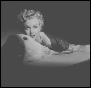 """1952 / Marilyn sous l'objectif du photographe Slim AARONS, photos publicitaires pour le film """"We're not married""""."""