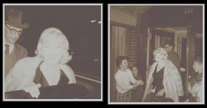 """19 Septembre 1959 / (Part V) Marilyn sortant de chez elle, valises à la main, suivi de MILLER qui l'accompagna à l'aéroport. La Fox organisa un banquet donné au """"Café de Paris"""" en l'honneur de Nikita KHROUCHTCHEV, premier secrétaire du Parti Communiste soviétique, venu visiter les studios de la Fox. Frank SINATRA fut le maître de cérémonie. Les invités furent, outre des directeurs de studio (Buddy ADLER) et des journalistes, Elizabeth TAYLOR, Debbie REYNOLDS, Judy GARLAND et Kim NOVAK. Marilyn arriva au bras de George CUKOR, pour faire la promotion de leur prochain film, « Let's Make Love ». Ce fut à cette occasion qu'elle revit Billy WILDER (avec qui elle n'avait plus eu de contacts depuis le tournage de « Some Like It Hot » en 1958) et que leurs relations se dégelèrent."""