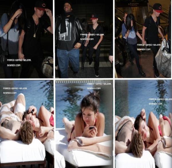 10/12: Jelena est arrivé à l'aéroport + 9/12: Selena et Justin bronzant à leurs hôtel, a Los Cabos (Mexique)