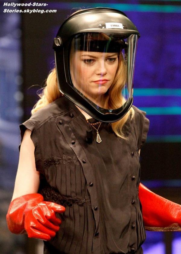 """Emma Stone et Andrew Garfield ont fait une apparition dans l'mission espagnole """"El Hormiguero"""", à Madrid en Espagne. Jeudi, 05 juillet"""