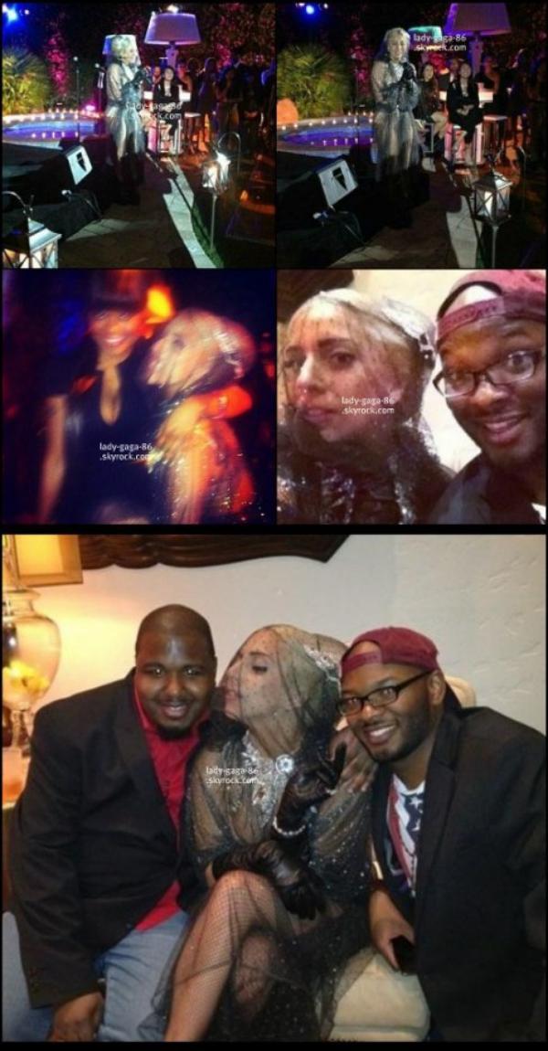 27/01/12 - Lady Gaga à l'anniversaire de Vincent Herbert à Los Angeles.