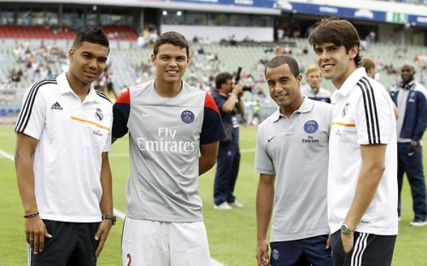 Casemiro, Thiago Silva, Lucas Moura et Ricardo Kaka