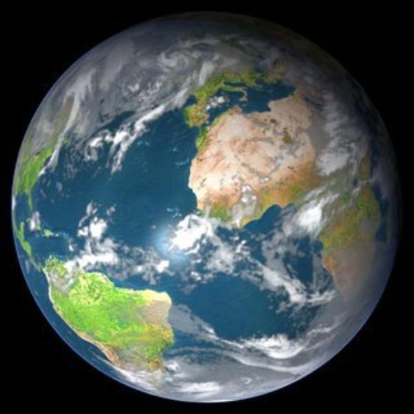 LA TERRE VU DE L'ESPACE,ET EN PLUS ON VOIE UN PEUT LA FRANCE L'AFRIQUE ET LE BRESIL,ET LES OCEANS ET LES MERS