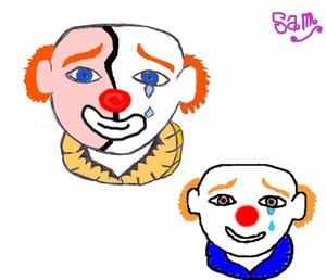 Le clown prend le masque