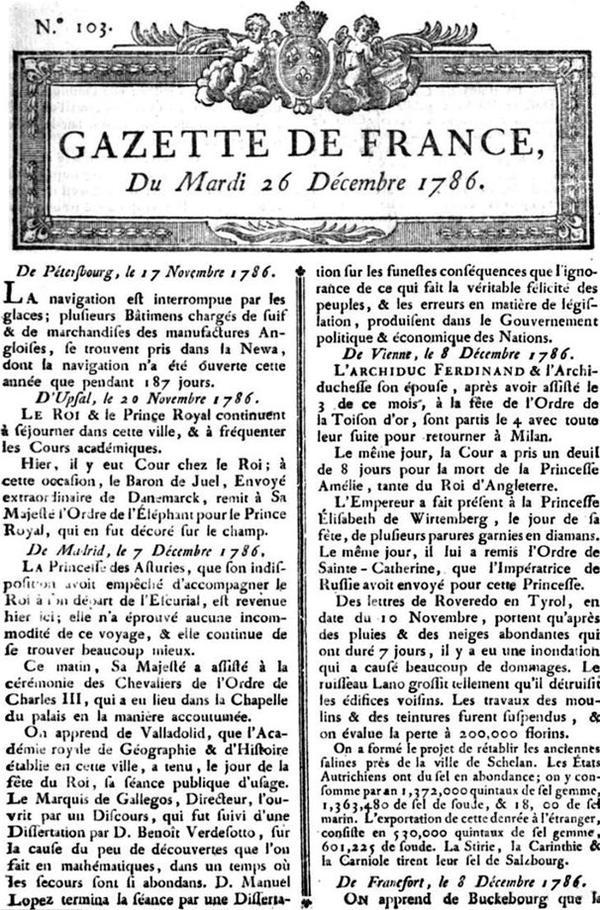 Histoire de la presse écrite _ _ La Gazette (France)