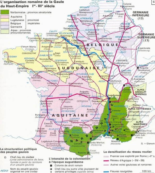 Carte de France Histoire _ _ Cartes de la Gaule Romaine