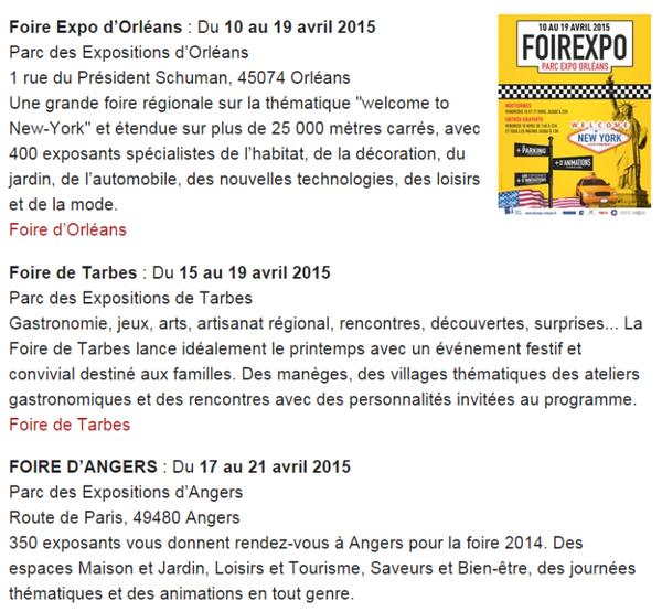 Foires et Expo en Avril