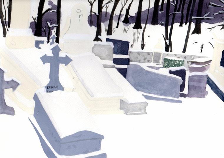 Quand la neige vermeille s'empare du sanctuaire éternel - Aquarelle.