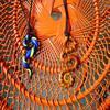 Colliers pate fimo, montés sur  une lanière de cuir