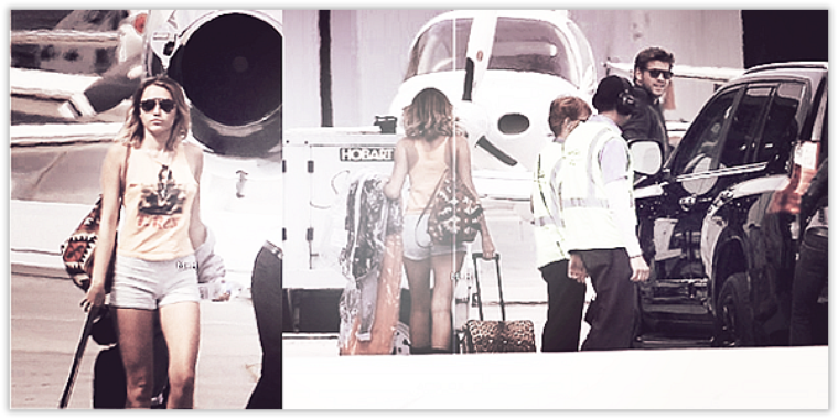 23/03/12 : Miley et Liam avant de s'envoler dans un jet privé en direction de Phoenix à L.A.