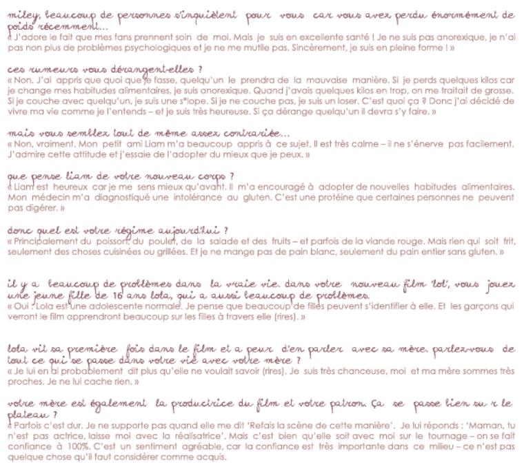 Découvrez l'interview qu'a donnée Miley pour le site allemand Bravo.de à l'occasion de LOL.