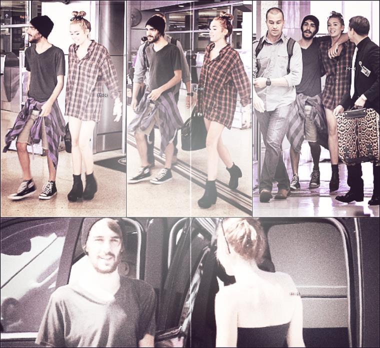 12/06/12 : Miley allant chercher son ami Cheyne Thomas, en fumant, à l'aéroport de Miami.