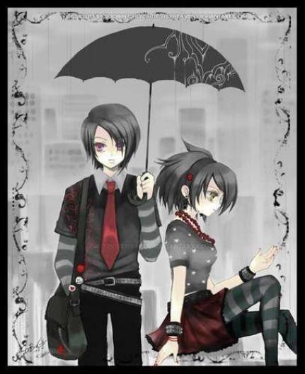 Emo anime girl and boy.