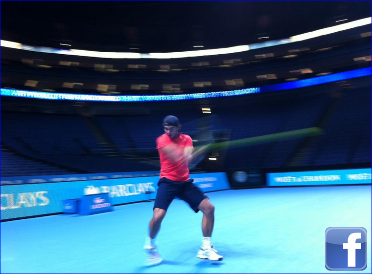"""22.11.11 : J'ai complètement surpassé mes problèmes d'estomac ... je m'entraîne dur pour le match contre Federer qui va se jouer dans un moment. """""""