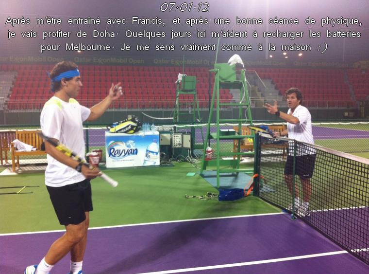Rafa est resté s'entraîner à Doha avant de s'envoler pour Melbourne.
