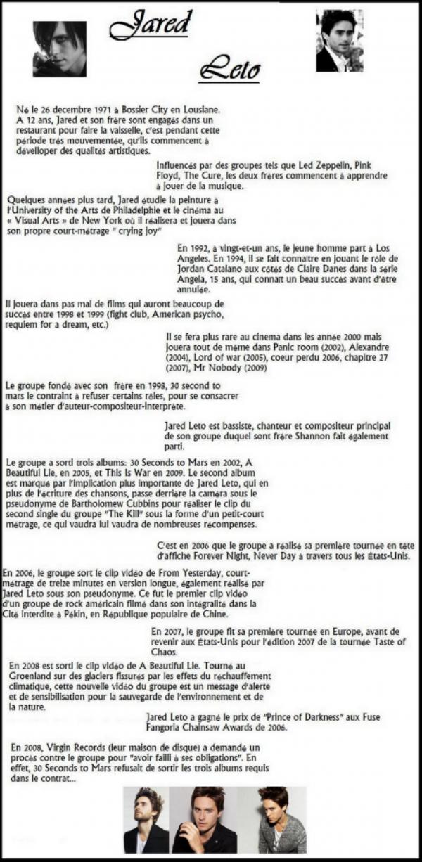 Biographie de Jared Leto