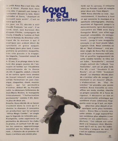 Côté promo  Coffret promo Kova Réa - Pas de limites (1991)