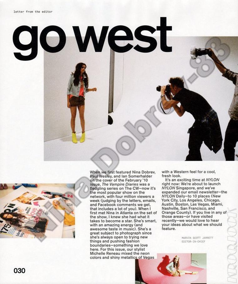 Nina Dobrev à la Une de Nylon Magazine fevrier 2012 en Cowgirl + photoshoot