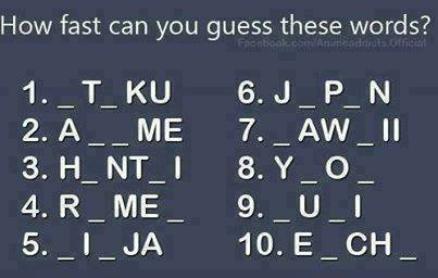 A quelle vitesse pouvez-vous deviner ces mots ?