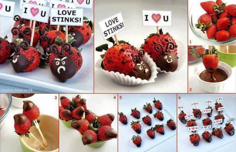 coccinelles fraises chocolat