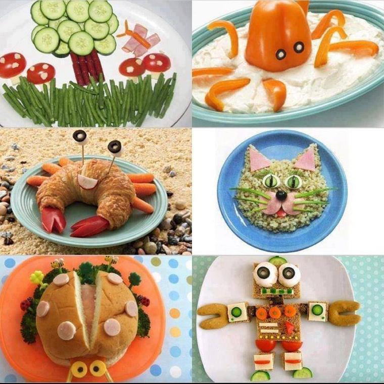 assiettes rigolotes de légumes  pour les enfants
