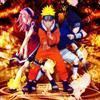 Naruto, ses compagnons Sasuke et Sakura