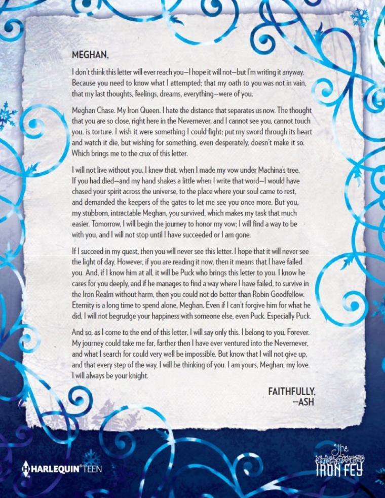 Lettre de Ash à Meghan ( Les Royaumes Invisibles )