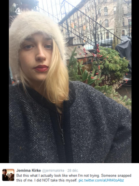 Jemima en Décemble 2014 sur les réseaux sociaux