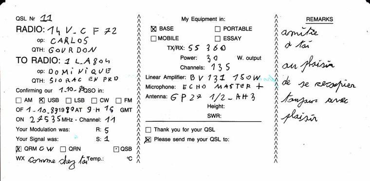 séquence nostalgie voici quelques QSL reçue depuis 1986