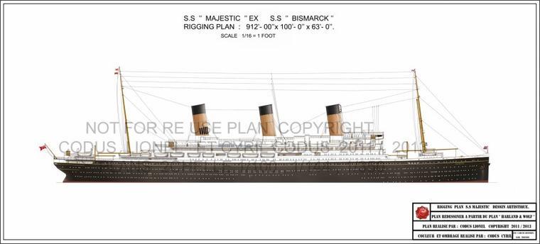 """Dessiné à partir des plans de chantier """" Warland & Wolff """" Le SS Majestic Rigging plan Ex SS Bismarck. /  Drawn from the construction plans """"Warland & Wolff"""" The SS Majestic Rigging plan Ex SS Bismarck."""