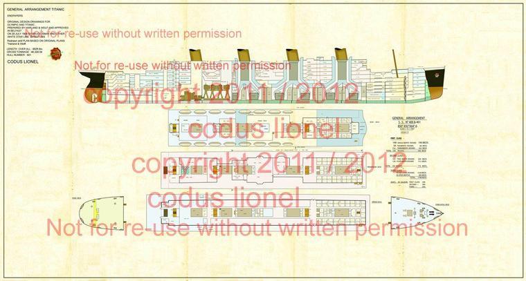 """Nouveauté plan codus lionel :GENERAL ARRANGEMENT 'DESIGN """"D""""' CONCEPT FOR YARD NOS. 400 AND 401 (OLYMPIC AND TITANIC) JULY 1908"""