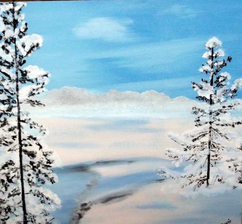 MES POESIES   mes peintures : peinture acrylique : les sapins peintures à l'huile