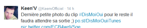 "Photo du tournage du clip ""Dis moi oui"" + tweet'v"
