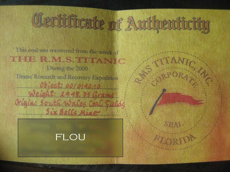 Hommage : Charbon du TITANIC