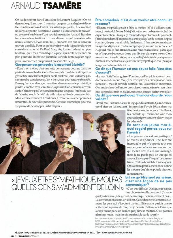 """Arnaud Tsamere encore dans le magazine """"Elle"""" (Belgique)"""