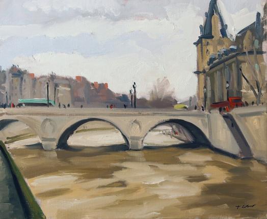 Le pont Ste Michel huile sur toile 65 x 54 cm