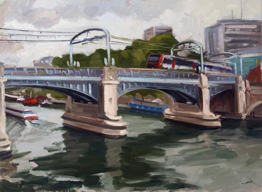 """Paris le pont Rouelle par temps gris vue de l'île aux Cygnes   """" huile sur toile 81 x 60 cm """""""