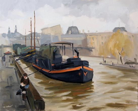 Péniches devant le Louvre Huile sur toile : 81 x 65 cm