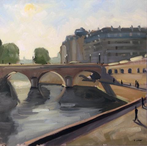 Le pont Saint-Michel le matin huile sur toile 60 x 60 cm