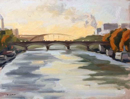 Le pont d'Austerlitz Huile sur toile 65 x 54 cm