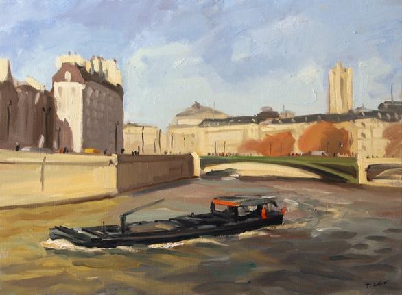 l'Ile de la Cités et le pont d'Arcole (81 x 60 cm huile sur toile )