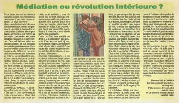 Médiation ou révolution intérieure