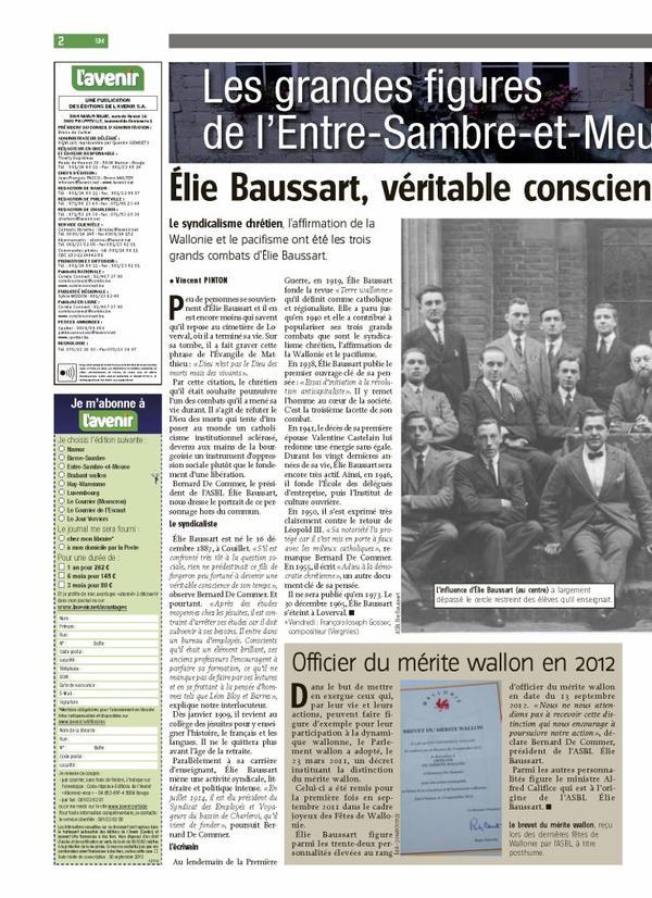 Mon interview dans le journal L'AVENIR (8 janvier 2013)