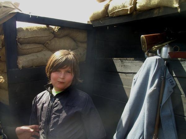 Au fort de Leveau avec mon petit-fils.