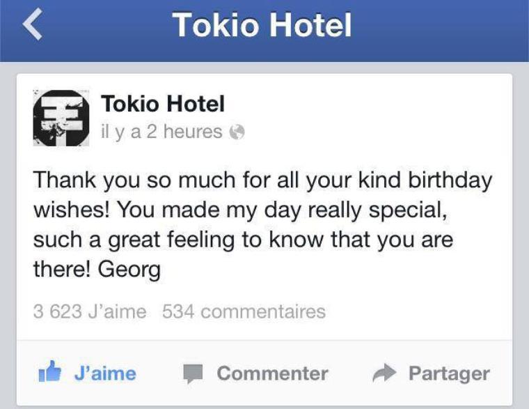 Tokio Hotel Facebook Merci Beaucoup Pour Tous Vos Voeux
