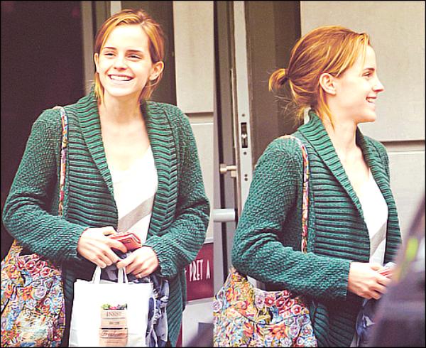 .  29/06/12 ➜ C'est souriante, naturelle et décontractée qu'a été vue Emma tout en quittant un restaurant rapide à Londres. Côté look, Emma portait le même gillet vert qu'ici | Mon Tumblr .
