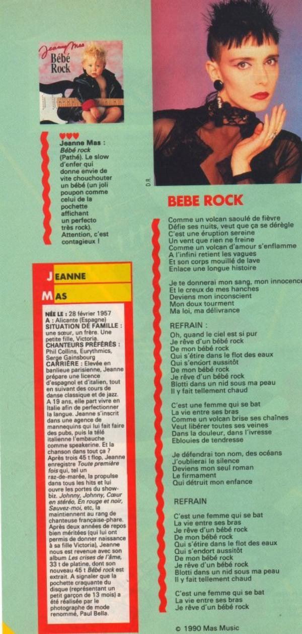 """Dossier spécial BEBE ROCK [1990 - 2020 - Le titre """"Bébé Rock"""" a 30 ans]  suite"""